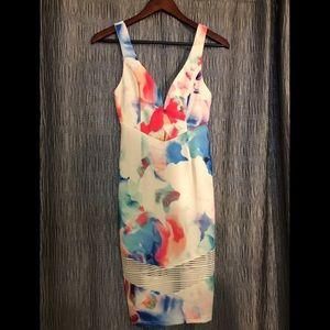Plunge, floral, white/pink/blue mini dress!